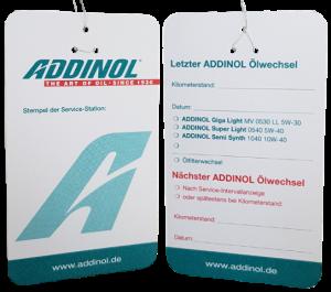 Addinol Ölzettel / Ölwechselanhänger